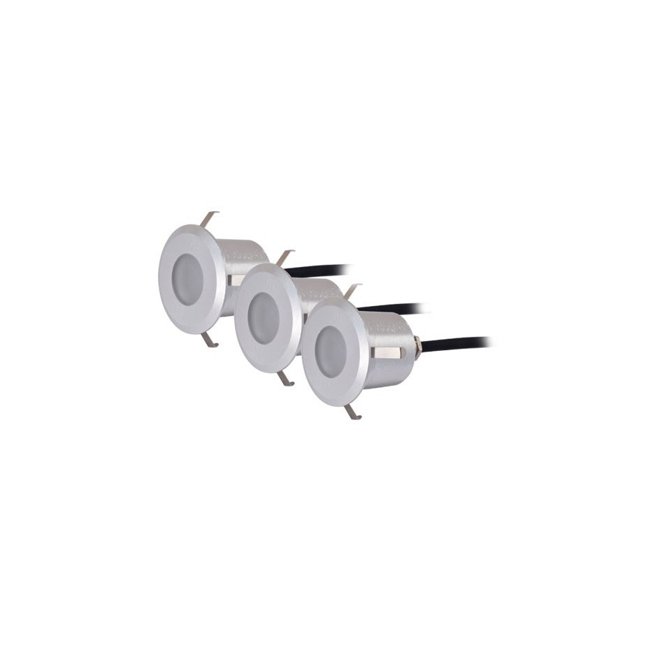 Set 3 luces redondas 6 LEDs 0,6W - IP54 - Niquel Mate, 40x57mm.