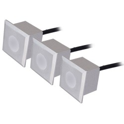 Set 3 luces cuadradas 6 LEDs 0,6W - IP54 - Niquel Mate, 40x40x57mm.