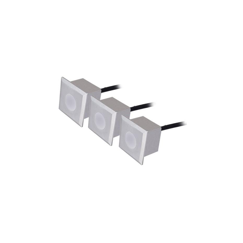 Set 3 luces cuadradas 6 LEDs 0,6W - IP54 - Niquel Mate, 40x40x57mm.