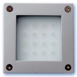 Baliza de superficie cuadrada para pared o suelo de 16 leds blancas 1,6W