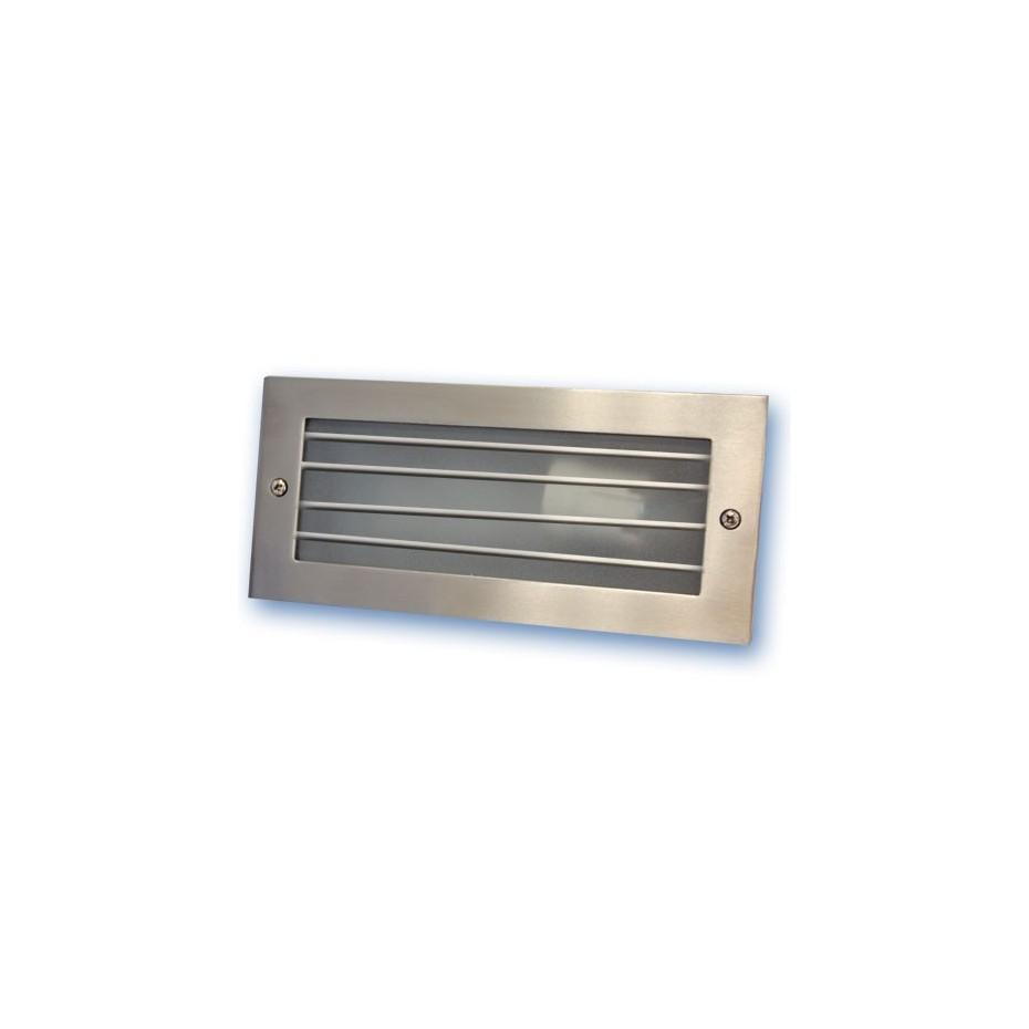 Aplique luminoso de aluminio para empotrar en pared con rejilla. E27, 60W, Niquel Satin.