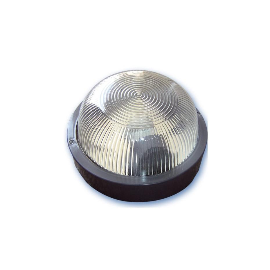 Aplique  redondo de plástico con mateial aislante y difusor de vidrio,E27.Máx.60W.230V. IP44, Blanco.