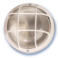 Aplique redondo de plástico con mateial aislante y difusor de vidrio,E27.Máx.60W.230V. IP44, Blanco