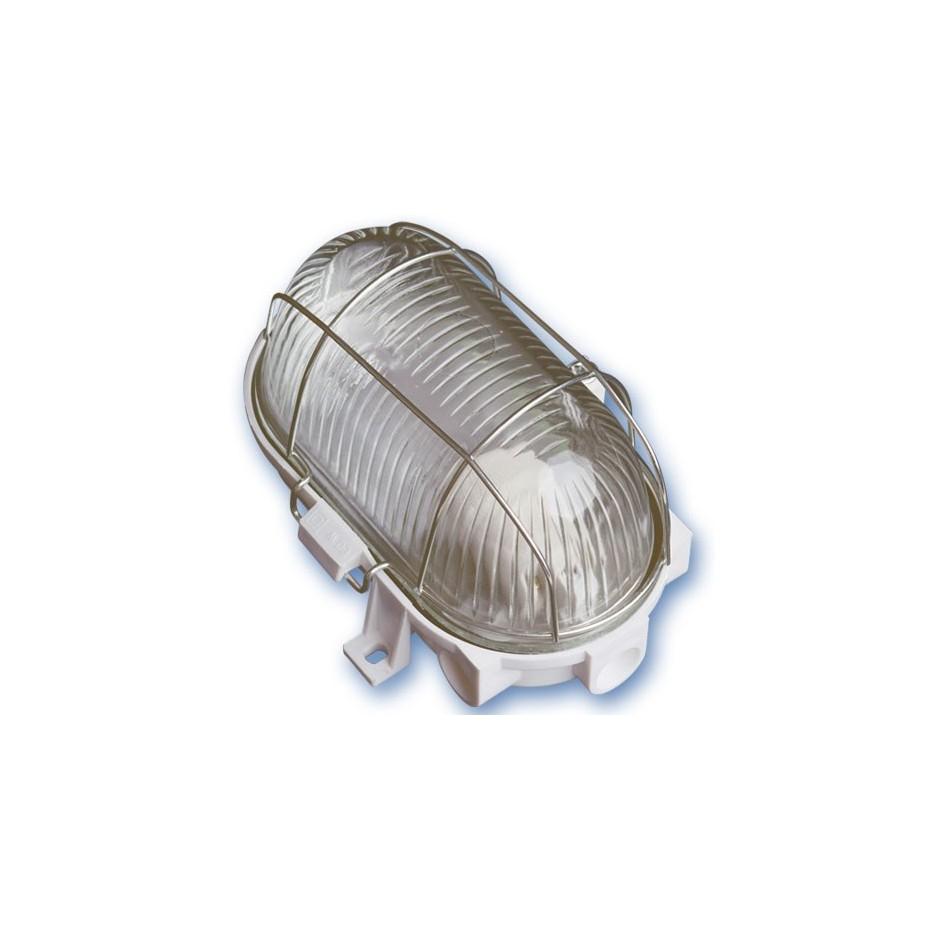 Aplique  ovalado de plástico con mateial aislante y difusor de vidrio, E27.Máx.60W.230V. IP44, Blanco.