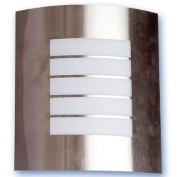 Aplique de pared de acero inoxidable. E27, Máx.60W. 230V. IP44, Uso externo, Niquel Satin.