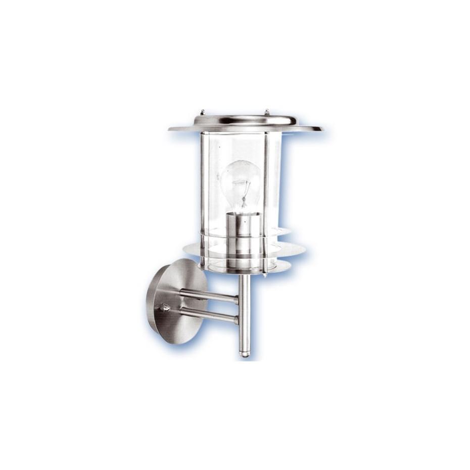 Farol de jardin de acero inoxidable tipo cilindrico, E27. Máx. 60W. 230V. IP44, uso externo. Niquel Satin.