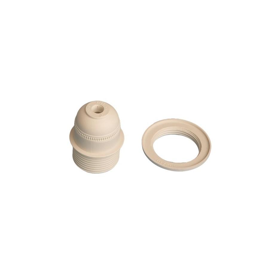 Portalámparas casquillo E27 blanco con arandela, termoplástico 4A 250V