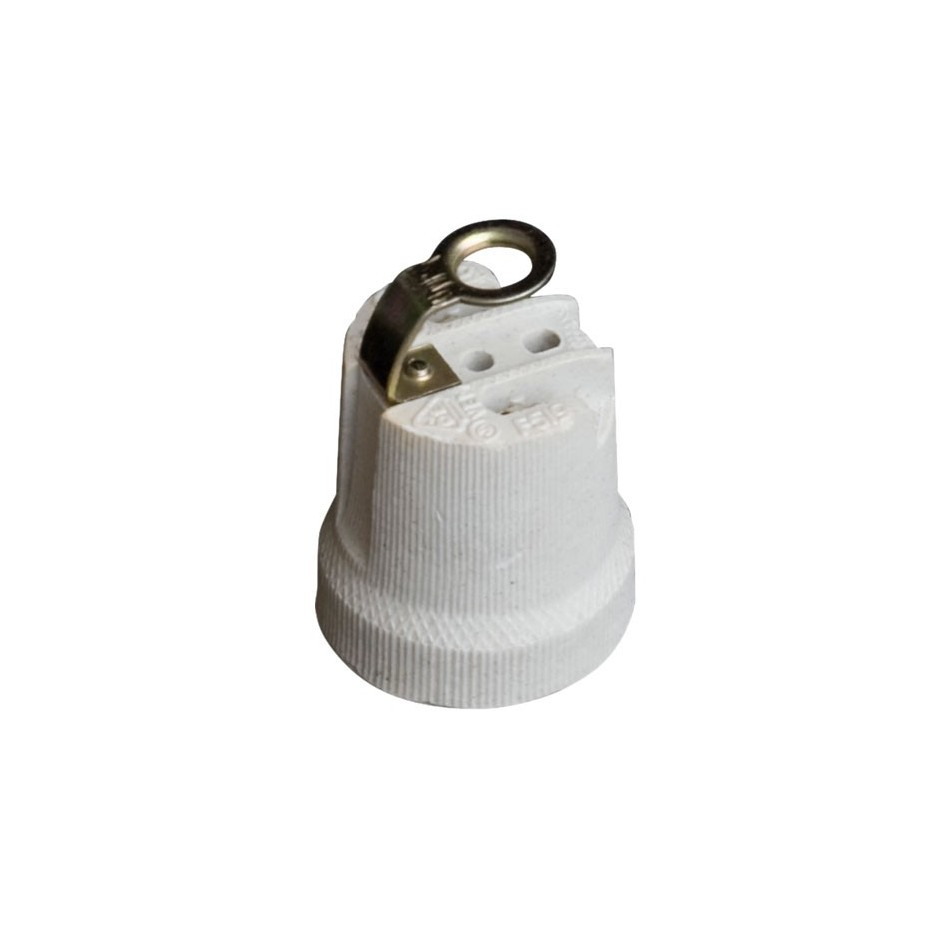 Portalámparas cerámico reforzado casquillo E27 blanco