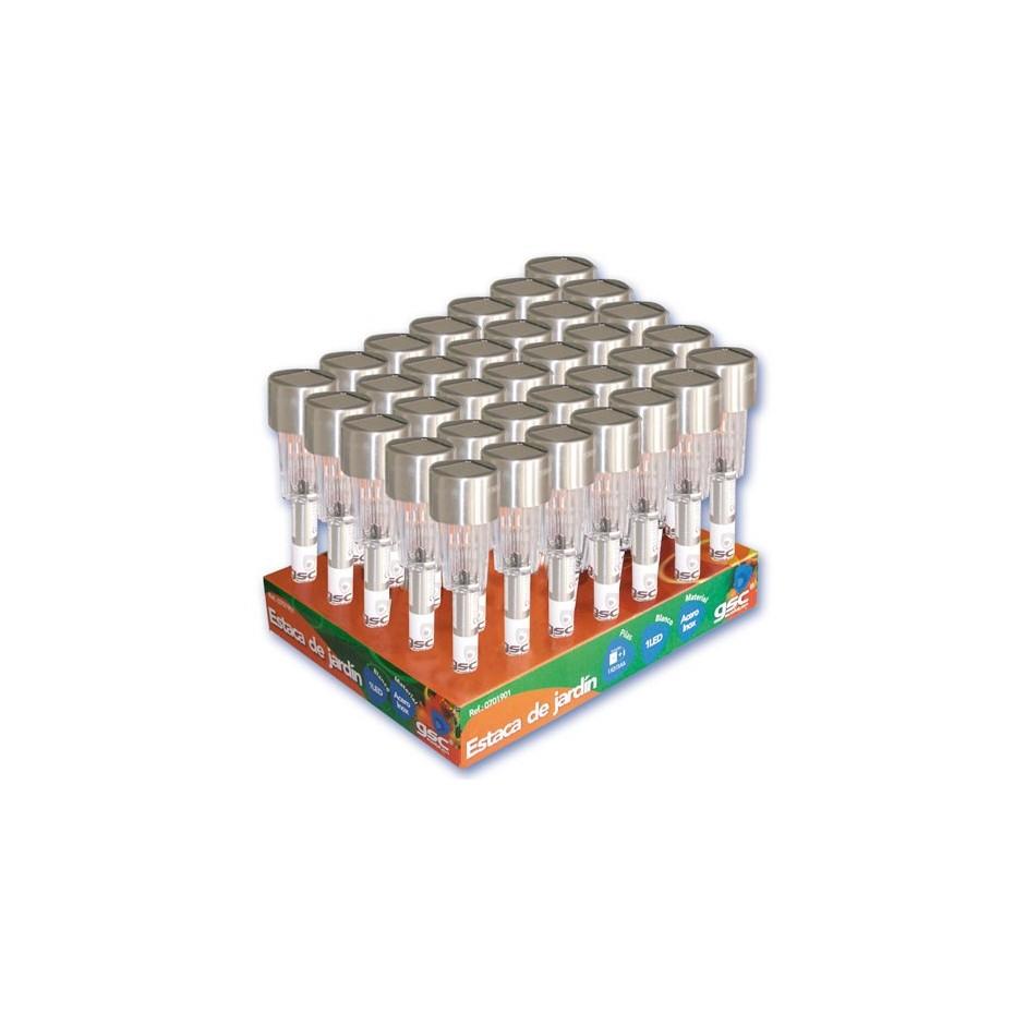 Expositor de 35 Estacas de jardin de 1 LED Blanco, Bateria 1x2/3AAA, 1,2V/300mAh.