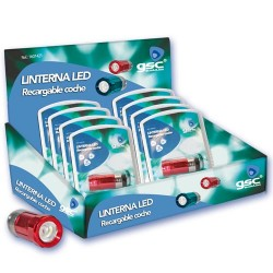 Expositor 12 uds. Linterna LED recargable para mechero de coche