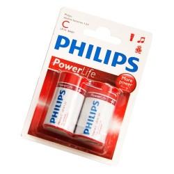 Caja 12 blisters de 2 unidades de pilas alkalinas LR-14 (C) PHILIPS