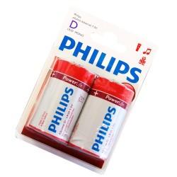Caja 12 blisters de 2 unidades de pilas alkalinas LR-20 (D) PHILIPS