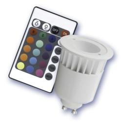 Caja 10 bombillas dicroica GU10/RGB Multicolor 1 LED cerámica-plástico 5W