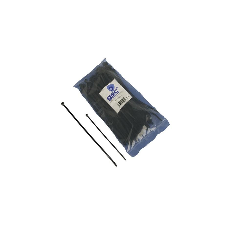 Bolsa de 100 unidades de bridas color negro, 100% nylon. 160x2,5