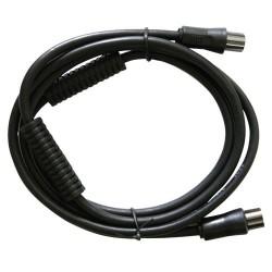 Prolongador coaxial T.V. con filtro negro 1,5 metros