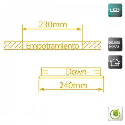 Downlight redondo empotrable de LED 18W Blanco