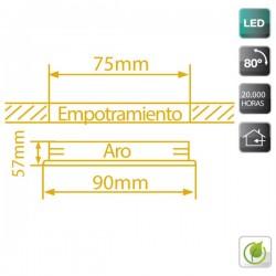 Aro Basculante Empotrable LED COB 5W 450 Lm Cálida Blanco