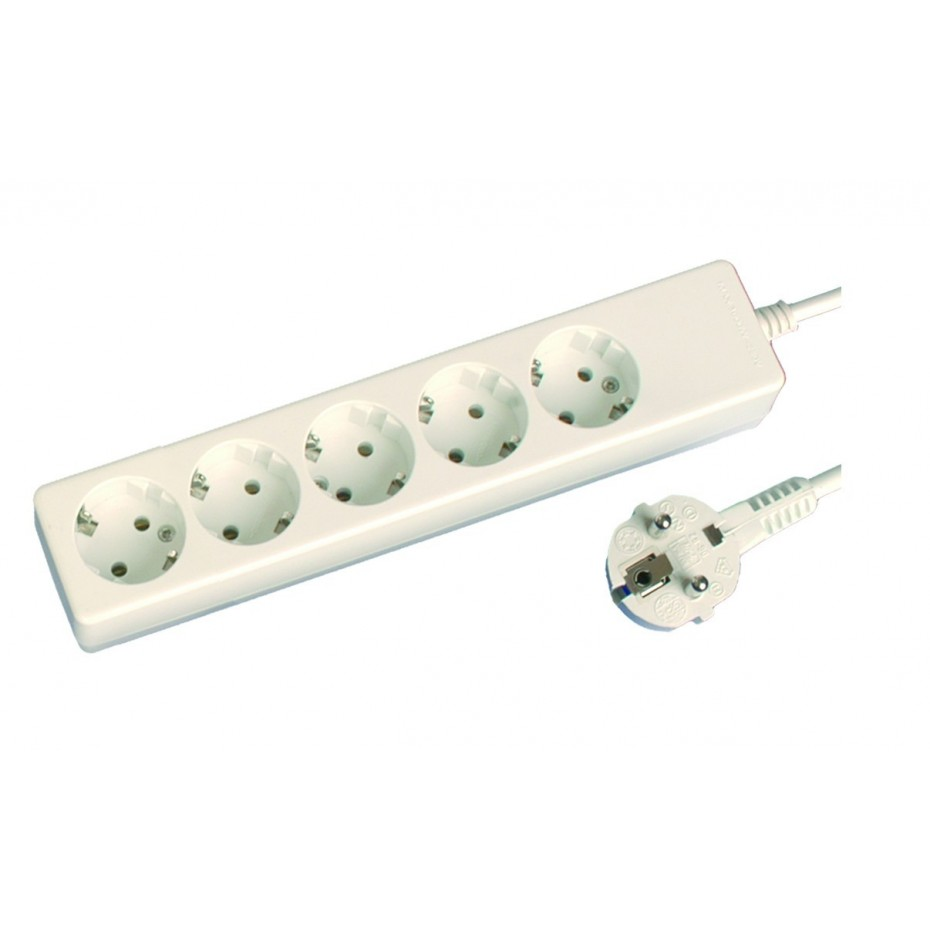 Base múltiple de 5 tomas (5T) con cable eléctrico serie mega