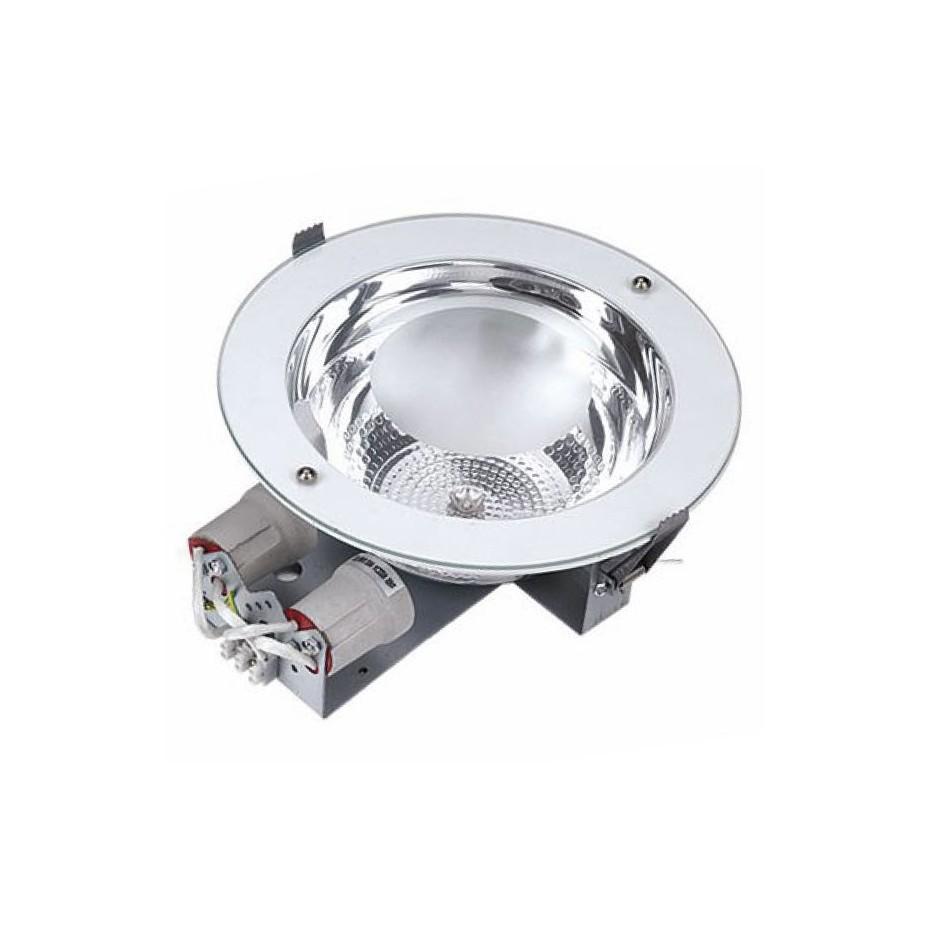 Downlight redondo empotrable directo a corriente 230V, Blanco, 2x25W.