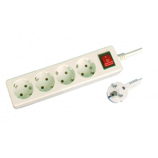 Base múltiple de 4 tomas (4T) con cable eléctrico serie mega