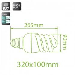 Caja 10 bombillas bajo consumo Espiral 65W E27 fría