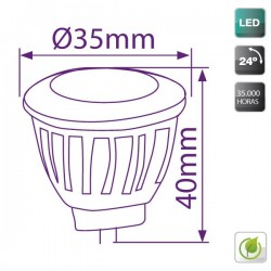 bombillas LED MR11 3W 150 Lm 24º cálida
