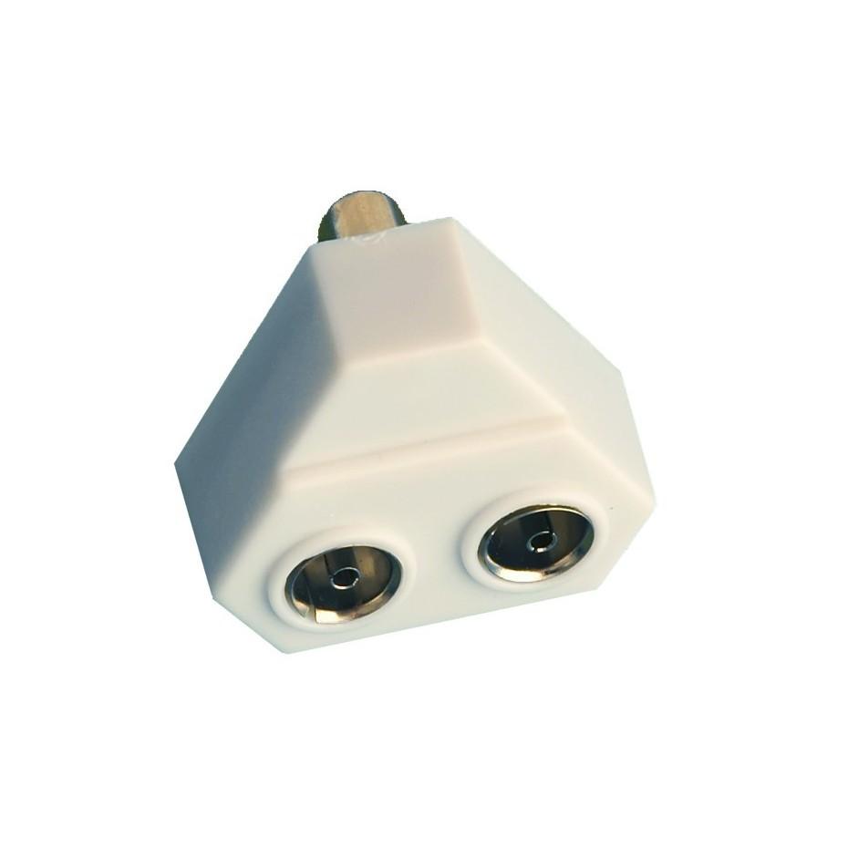 Distribuidor TV triangular inductivo Entrada machoa salida 2 hembras de 9,5 mm