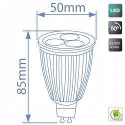 Bombillas LED GU10 7,5W 50º 6400K fría