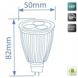 Bombillas LED 7,5W (3x3W) MR16 G5,3 12V 6400K fria