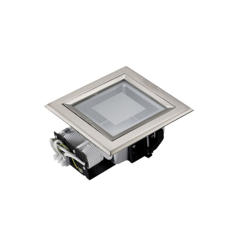 Mini-Downlight empotrable cuadrada de bajo consumo. Niquel Satin, 2x9W.