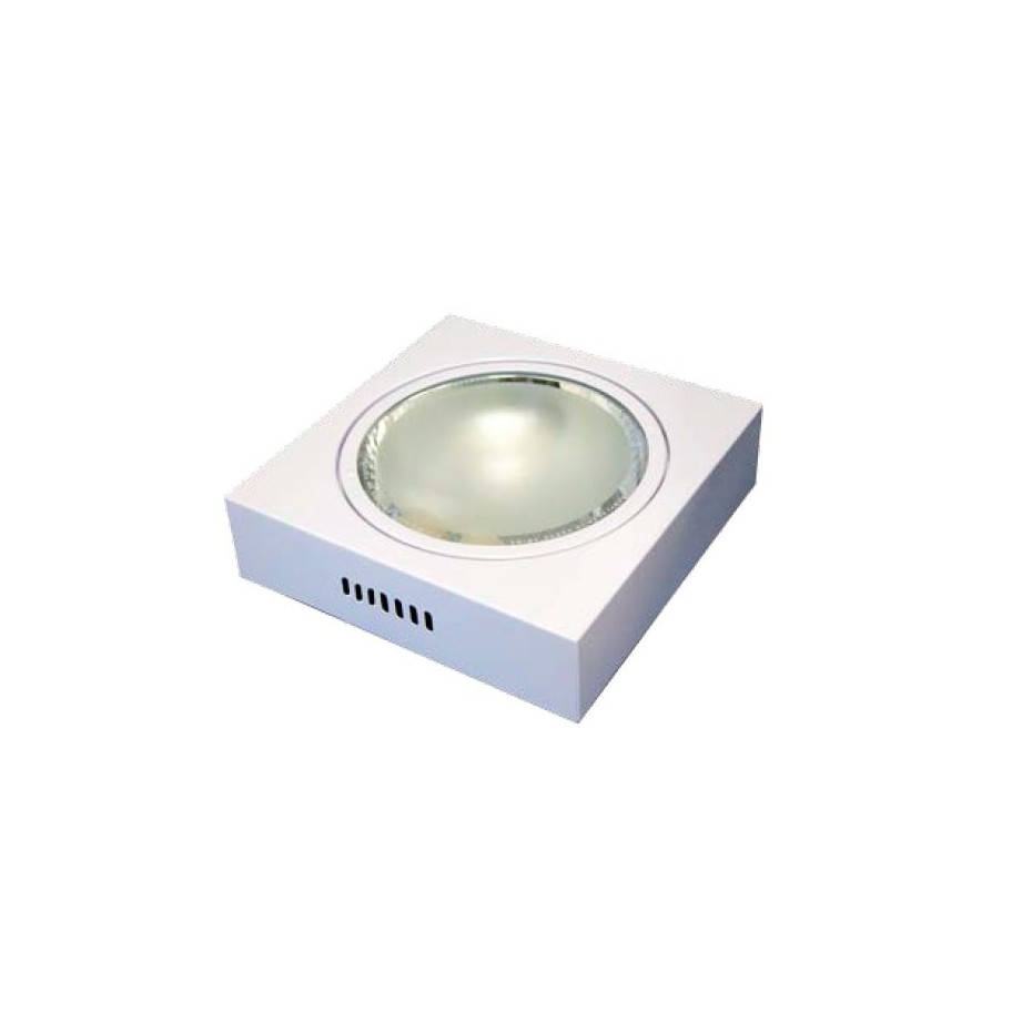 Downlight superficie cuadrado , 2xE27, 2x25W - Blanco..