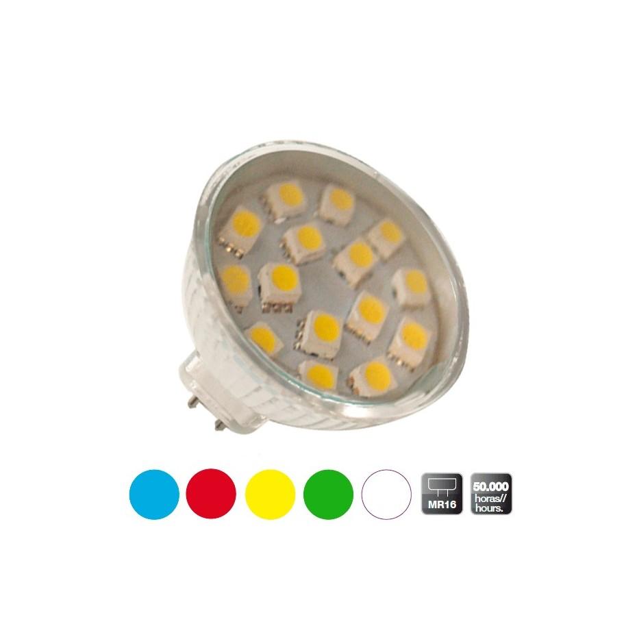 Caja 10 bombillas decorativas 20 LEDs MR16 color roja