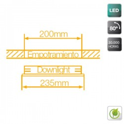 Downlight LED Blanco 18W 4200K 1300 Lm empotrable