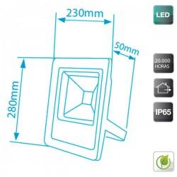Proyector de LED Ultraplano 50W 2000 lm Frío 6400K