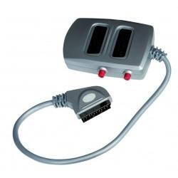 Adaptador de 1euroconector macho con cable a base 2 euros hembras