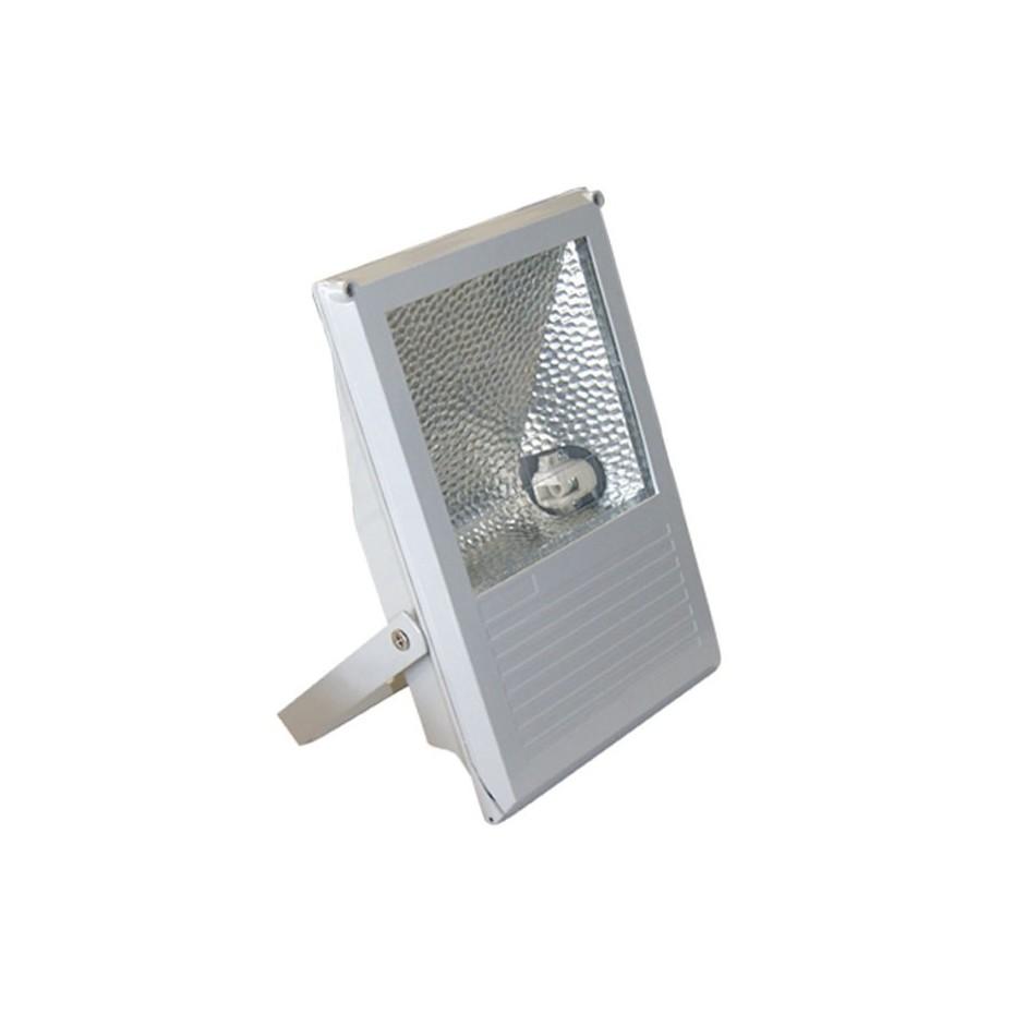 Proyector halogenuro con equipo incorporado.Sujección giratoria variable. gris, 150W.