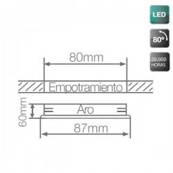 Aro Basculante Empotrable LED COB 9W 810 Lm Cálido Blanco