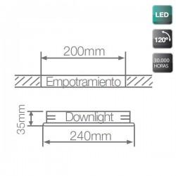 Downlight LED empotrable de 22W 2200 Lm Blanco con luz día