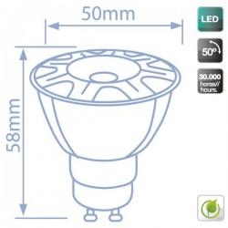 Lámparas LED COB GU10 de 6W 460 Lm luz cálida