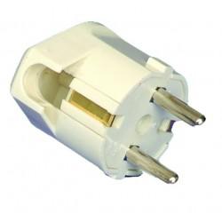 Clavija bipolar con con TT y entrada de cable lateral Ø 4.8 mm. de material termoplástico