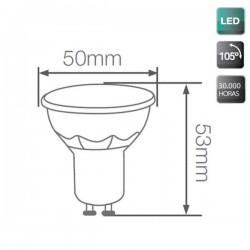 Caja de 10 Lámparas LED GU10 de 7,5W de 105º luz cálida