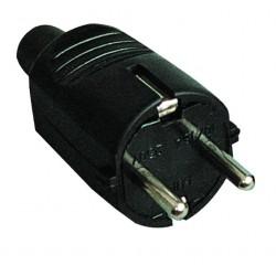 Clavija bipolar de goma negra con TT lateral  y entrada de cable recta Ø 4.8 mm