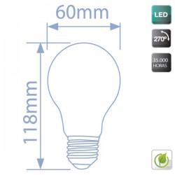 bombillas estándar LED E27 8W 500Lm 270º fría