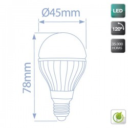 Caja 10 bombillas esféricas LED cerámica 4W E27 3000K cálida