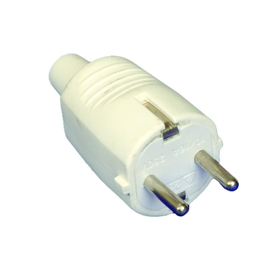 Clavija bipolar de goma blanca con TT lateral  y entrada de cable recta Ø 4.8 mm