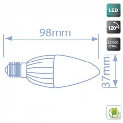 bombillas Vela LED 6W 560 Lm E14 6000K fría