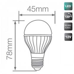 Bombilla LED 12V Esférica E27 4W 320lm 3000K Cálida