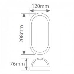 Aplique LED para Exterior 7W 450lm 6000K Oval