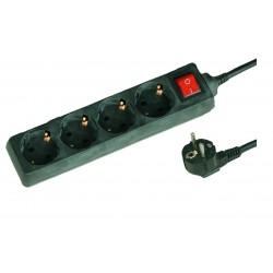 Base múltiple negra de 4 tomas (4T) con cable eléctrico serie standard
