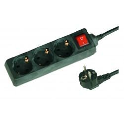 Base múltiple negra de 3 tomas (3T) con cable eléctrico serie standard